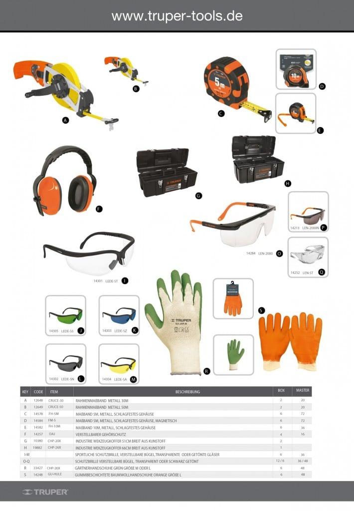 Truper Flyer Schutzbrillen Werkzeugkoffer Handschuhe Maßbänder
